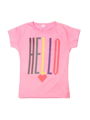 GKIDZ Girls Pink Printed T-shirt