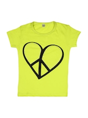 GKIDZ Girls Lime Green Printed T-shirt
