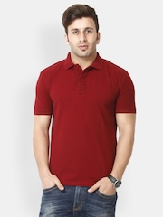 Gritstones Men Maroon Polo T-shirt