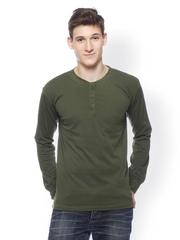 GRITSTONES Men Olive Green Henley T-shirt