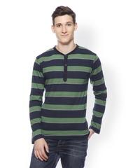 Men Green & Navy Striped Henley T-shirt GRITSTONES