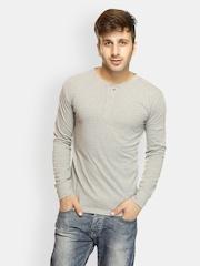 Gritstones Men Grey Melange T-shirt