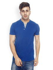 GRITSTONES Men Blue Henley T-shirt