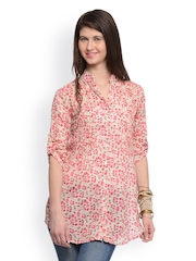 GRITSTONES Women White & Pink Floral Print Tunic