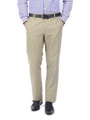 Geoffrey Beene Men Beige Formal Linen Blend Trousers
