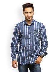 Gesture Jeans Men Blue Striped Casual Shirt