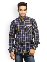 Gesture Jeans Men Navy & Yellow Checked Casual Shirt