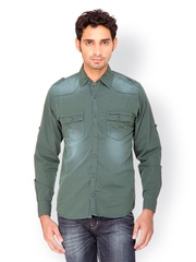 Gesture Jeans Men Olive Green Casual Shirt