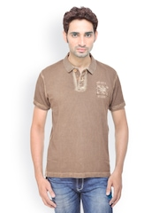 Gesture Jeans Men Brown Slim Fit Polo T-shirt
