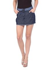 Ginger Blue Denim A-line Skirt