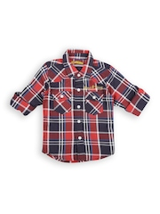 Gini and Jony Boys Red & Navy Checked Casual Shirt