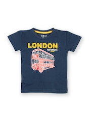 Gini and Jony Boys Navy Printed T-shirt