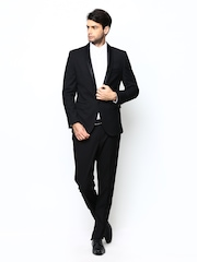 Giovani Men Black Slim Fit Single Breasted Suit