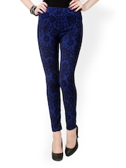 Glam and Luxe Women Black & Blue Printed Slim Fit Jeggings