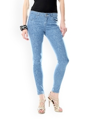 Glam and Luxe Women Blue Printed Jeans