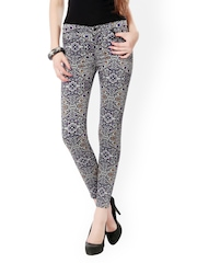 Glam and Luxe Women Grey & Purple Printed Slim Fit Jeans