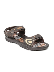 Gliders Men Dark Brown Printed Sports Sandals