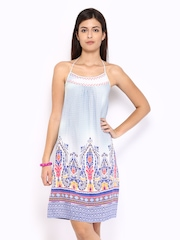 Global Desi Blue & White Printed A-line Dress
