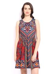 Global Desi Multicoloured Printed A-Line Dress