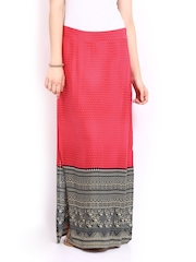 Global Desi Pink Printed Maxi Skirt