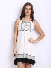 Global Desi White & Black A-Line Dress