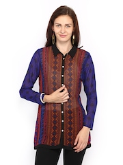 Global Desi Women Black & Blue Printed Tunic