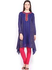 Global Desi Women Blue Anarkali Kurta