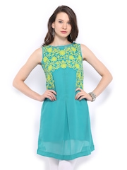 Global Desi Women Blue Embroidered Kurta