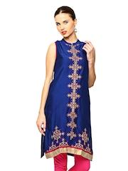 Global Desi Women Blue Embroidered Kurta