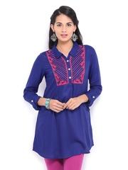 Global Desi Women Blue Embroidered Tunic
