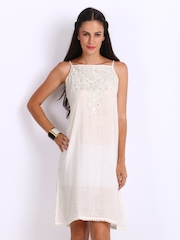 Global Desi Off-White Mirror Embroidered Shift Dress