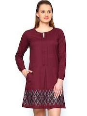 Global Desi Maroon Linen Blend Shift Dress