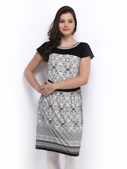 Global Desi Coffee Brown & White Printed Fit & Flare Dress