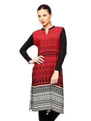 Global Desi Women Red & Black Printed Kurta