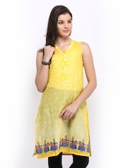 Global Desi Women Yellow Printed Kurta