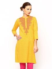 Global Desi Women Yellow Kurta