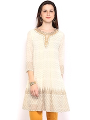 Global Desi Women Off-White Printed Kurta