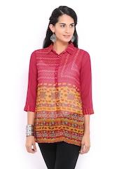 Global Desi Women Pink & Mustard Brown Printed Top