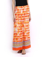 Global Desi Orange & Off-White Printed Maxi Skirt
