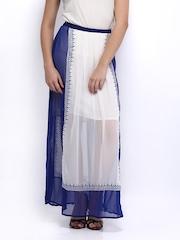 Global Desi White & Blue Printed Skirt