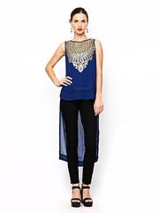 Global Desi Women Blue Printed Sheer Top