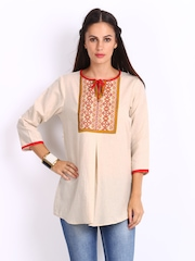 Global Desi Women Beige Embroidered Linen Blend Kurti