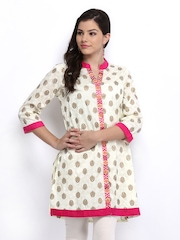 Global Desi Women Cream Coloured Printed Kurti