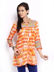 Global Desi Orange & Off-White Printed Tunic