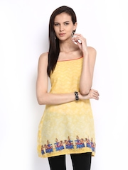 Global Desi Women Yellow Printed Tunic