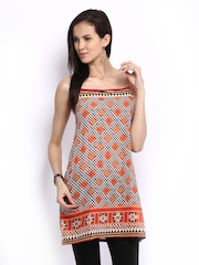 Global Desi Women Orange & Green Printed Tunic