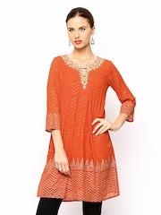 Global Desi Women Orange Printed Tunic