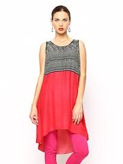 Global Desi Women Black & Pink Printed Tunic