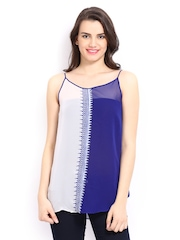 Global Desi Women White & Blue Printed Top