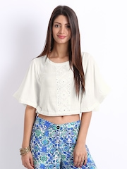 Global Desi Women White Crop Top